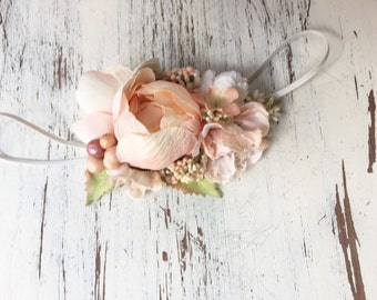 Peach Floral Flower Headband