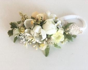 Yellow baby girl headband -baby Flower crown- Well dressed wolf- Floral crown- Bridal Crown- Flower Girl- Spring Wedding-