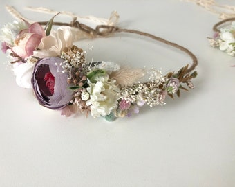 Flower Crown- Wedding Flower Crown- Floral Crown- Baby Flower Crown- Well Dressed Wolf