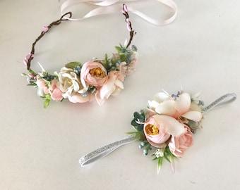 Coral Flower Crown- Floral Crown- Bridal Flower Crown- Flower Crowns- Flower Girl Flower Crown-Baby Flower Crown- Newborn