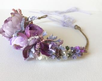 Purple flower crown- Floral Crown- Wedding Flower Crown
