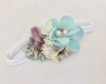 Aqua purple Flower crown- baby Flower crown- baby girl headband- girls headband- Well dressed wolf- Mermaid headband