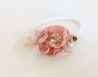 Pink flower headband- Newborn Headband- Baby Girl Headband