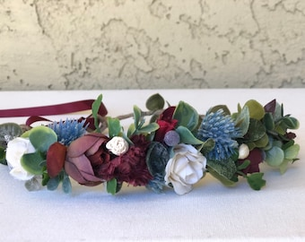 Burgundy blue thistle Flower Crown- Floral Crown-  Baby Flower Crown- Wedding Flower Crown- Fall