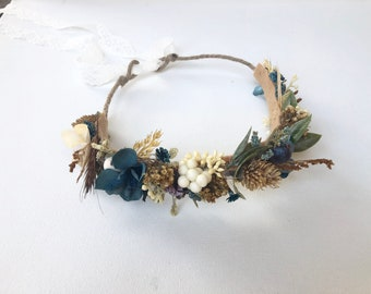 Dried flower crown- Flower Tie back halo- Flower crown- Well Dressed Wolf Crown