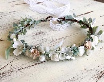 Flower Crown- Floral Crown- Wedding Flower Crown- Baby Flower Crown- Girls flower Crown