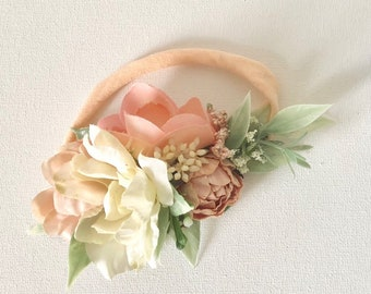 Peach Flower Crown Headbands- floral Headbands- Baby Girl Headbands- flower crown- Well Dressed Wolf