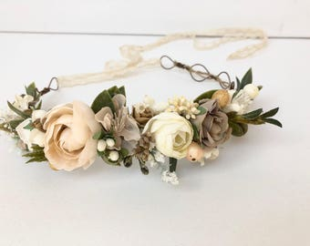 Ivory beige Flower Crown- Bridal Flower Crown- Flower Girl Flower Crown- Baby Flower Crown