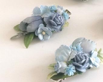 Blue Flower hair clip- Kids hair clip- Baby hair clip- no slip clip- flower hair piece