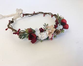 Red  partial flower crown