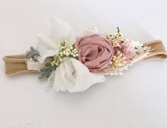 Dainty floral headband- Newborn Headband- Baby Girl Headband- Baby Flower Crown- gify