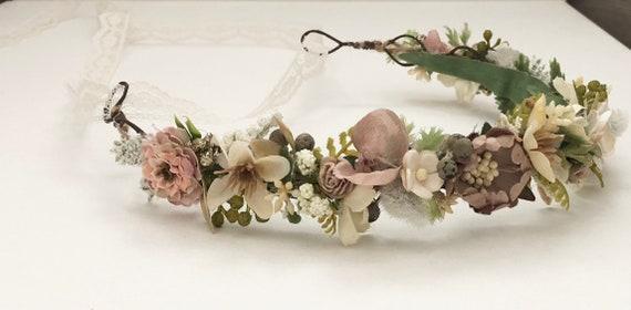 Flower Crown- Floral Crown- Baby Flower Crown- Bridal Flower Crown- - Flower Crowns- Flower Girl Flower Crown