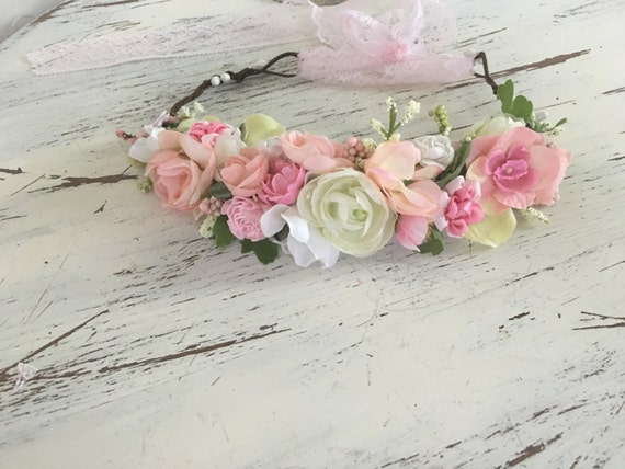 Pink Flower Crown- Flower Girl- Well Dressed Wolf Hydrangea-  Pink Flower crown- Crown- Mommy and me- baby girl Headband- Flower Girl crown