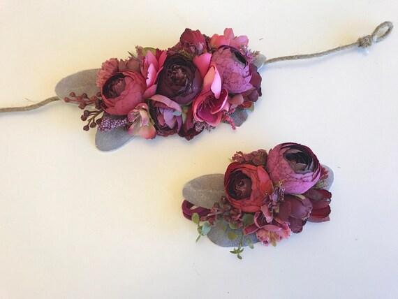 Crimson crown, floral crown, well dressed wolf flower crown, bridal crown