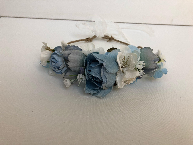 Blue flower crown floral crown flower girl well dressed etsy zoom izmirmasajfo