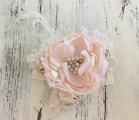 Pink Flower Hair Clip- Hair Clip- Hair Accessories- Hair Flower- Flower Girl Clip- Bridal Hair Clip- Baptism Hair Clip- Wedding Hair Piece