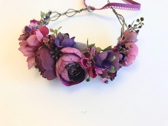 Plum  floral crown, floral crown, well dressed wolf flower crown, bridal crown
