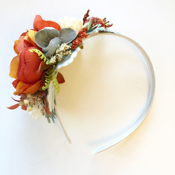 Pumpkin Flower crown headband , floral crown,  well dressed wolf- flower crown