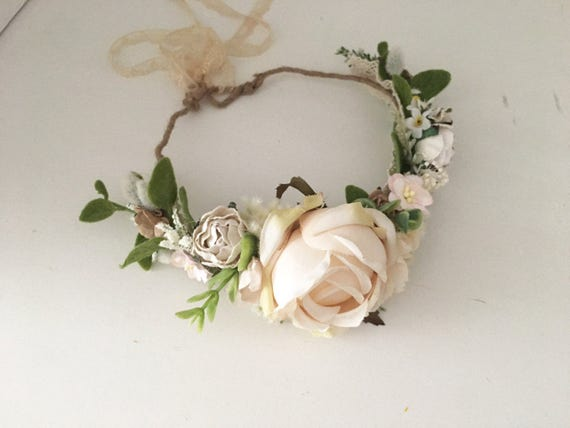 Flower crown- Ivory Flower crown- Flower Girl Flower Crown- Floral Crown- Well dressed wolf-