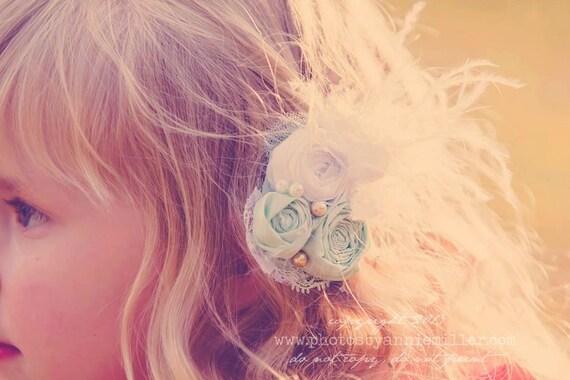 Mint Flower Hair Clip- Hair Clip- Hair Accessories- Hair Flower- Flower Girl Clip- Girl Hair Clip- Bridal Hair Clip- Baptism Hair Clip