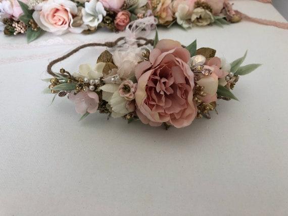 Flower Crown- Floral Crown-Pink  Baby Flower Crown- Bridal Flower Crown- - Flower Crowns- Flower Girl Flower Crown- Newborn