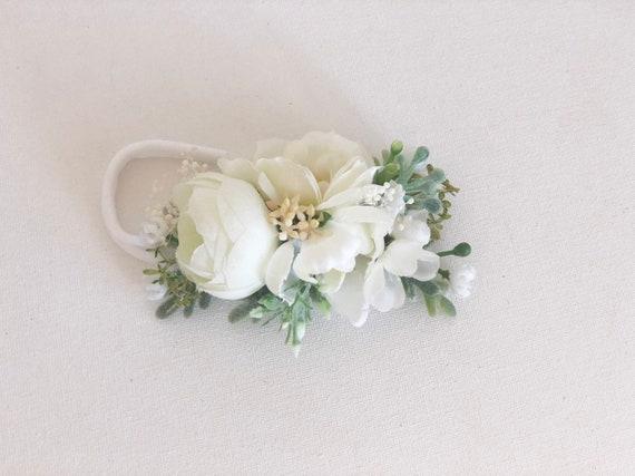 White headband- baby flower crown- baby headbands- Flower Crown Headbands- Spring floral Headbands