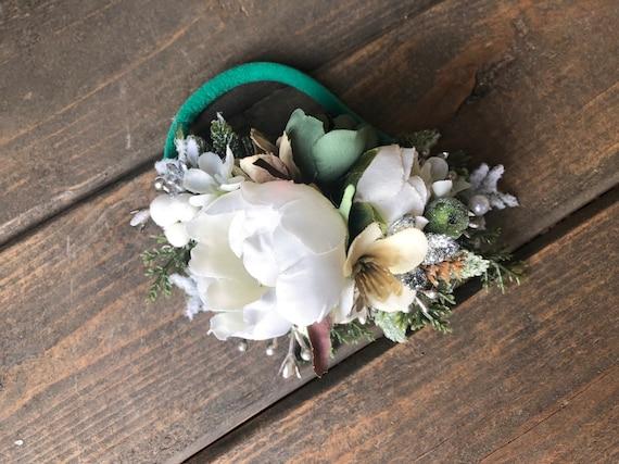 Green Flower crown headband