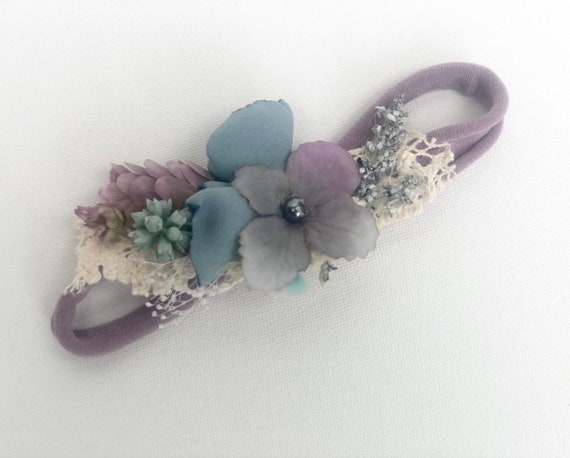 Ready to ship- Purple teal flower crown- baby flower crown- newborn tie back- Girls headband- baby flower crown headband