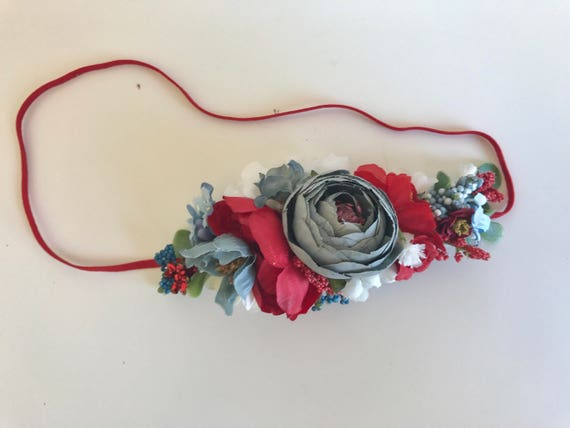Red white blue flower crown- Well dressed wolf- Floral crown-Flower Girl- Spring Wedding-  -