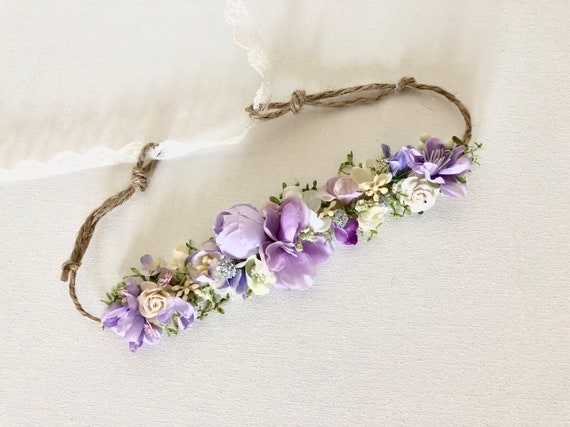 Baby Flower Crown- Floral Crown- lavender Flower Crown- Bridal Flower Crown- - Flower Crowns- Flower Girl Flower Crown- Newborn