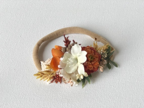 pumpkin baby flower crown headband