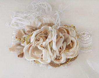 Baby Girl Headband-Flower Girl Headband-Baby headband-Gold Headband-Couture Headband-Girls Headband