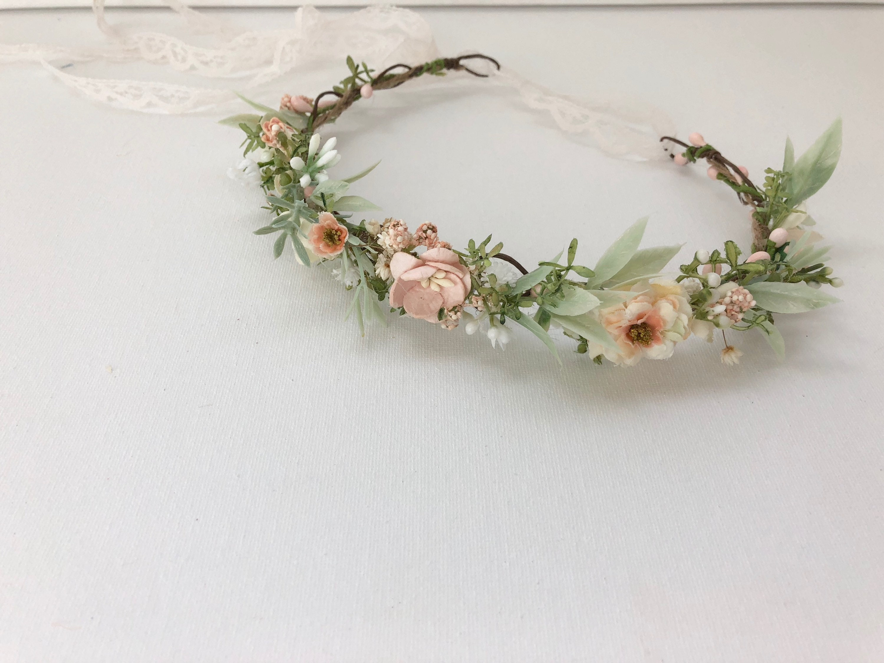 Flower Crown Floral Crown Bridal Flower Crown Peach Flower  fdc0c1462cb