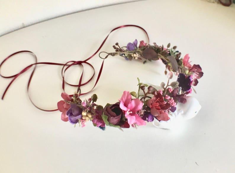 Baby Flower Crown Flower Girl Crown Baby Girl Headband Wedding Flower Crown Plum Flower Crown Well Dressed Wolf