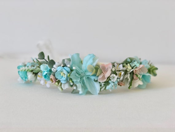 Flower crown- Well Dressed Wolf Crown- Flower  halo- Flower Headband- Flower crown- Headband- Tie Back Headband- Flower Girl Headband- h