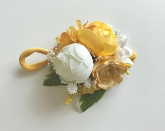 Golden girl flower headband, OMIJO, flower crown, baby flower crown, floral crown, yellow flower headband, flower halo, flower headiece