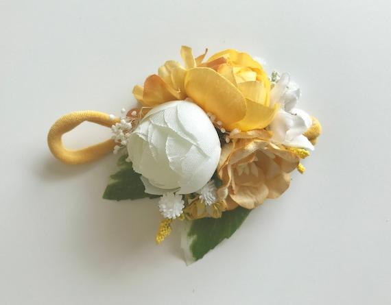 Golden girl flower headband, OMIJO, flower crown, baby flower crown, floral crown, yellow flower headband, flower halo, flower headiece