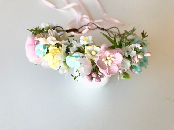 Pastel Flower crown- baby flower crown- Flower Girl crown- wedding headpiece