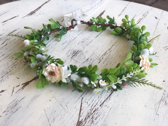Peach Flower Crown- Flower Crown- baby flower crown- Bridal Flower Crown- Flower Girl- greenery halo- Mommy and Me flower crown