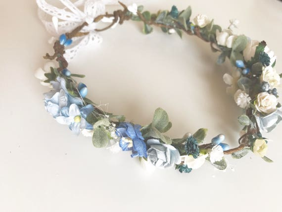Blue flower crown- Wedding flower crown- Well dressed wolf- Floral crown- baby girl flower crown- Flower Girl headband
