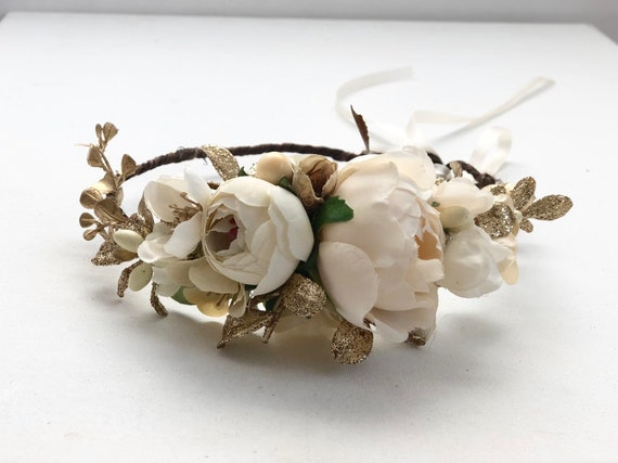 Ivory Gold Flower Crown- Floral Crown-Baby Flower Crown- Bridal Flower Crown- Avry Couture- Flower Crowns- Flower Girl Flower Crown- Newborn