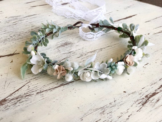 greenery Flower Crown- baptism Flower Crown- baby flower crown- Bridal Flower Crown- Flower Girl- greenery haloMommy and Me halos