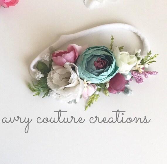 Flower Crown- floral crown- flower halo- baby flower crown- baby girl headbands