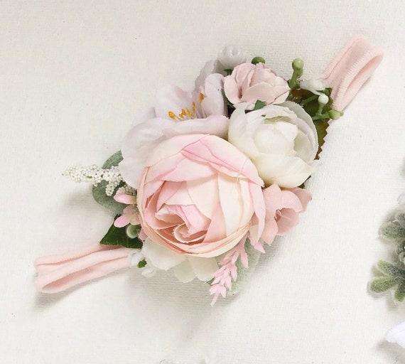 Pink Baby flower crown- flower crown- flower girl headband- baby girl headbands- baby headbands-  floral Headbands