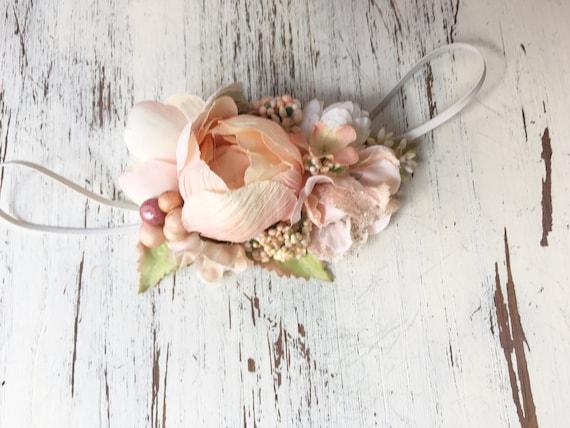 Peach Floral Flower Headband