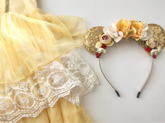 Princess Mouse ears- Well Dressed Wolf Duchess- Mouse Ear Flower Crown- Belle Headband- Belle Birthday