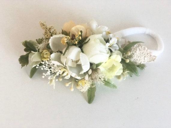 Yellow baby girl headband -baby Flower crown- Well dressed wolf- Floral crown- Bridal Crown- Flower Girl- Spring Wedding- Dollcake
