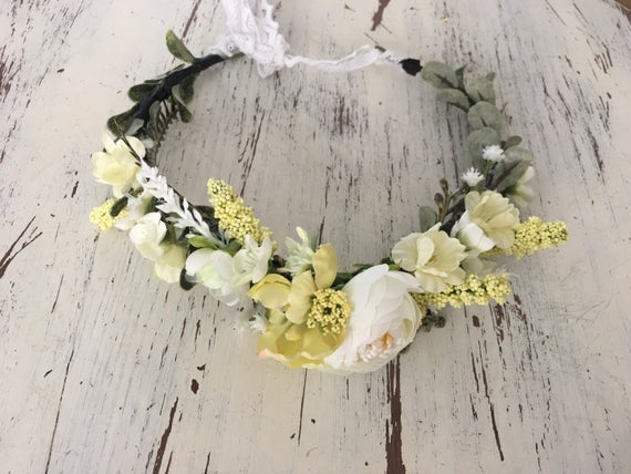 Flower Crown- Yellow Flower Crown- Floral Crown- Flower Girl Crown- Bridal Crown- Photo Prop