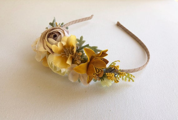 Mustard Flower crown headband