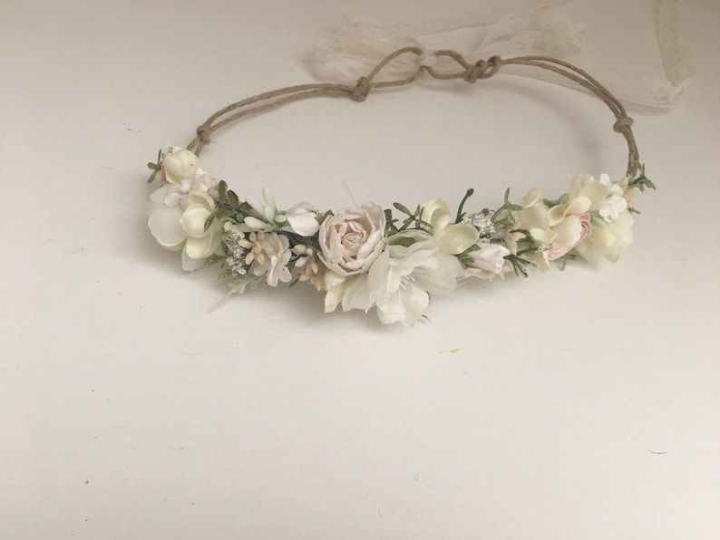 Off white Dainty Flower Crown Baby Flower Crown Baptism image 0
